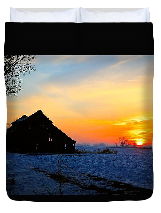 Sun Duvet Cover featuring the photograph November Barn 2 by Bonfire Photography