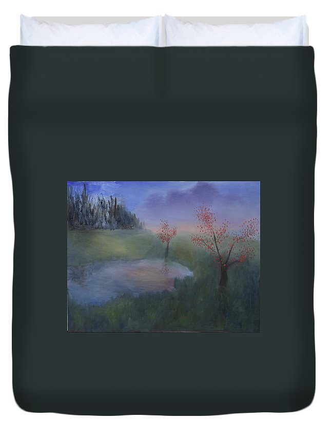 Trees Duvet Cover featuring the painting November Morning by Spencer Kowalski