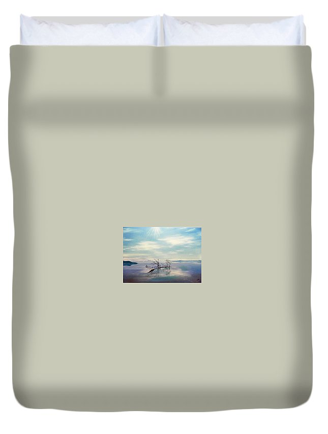 Late Novemeber In Bavaria Duvet Cover featuring the painting November On A Bavarian Lake by Helmut Rottler