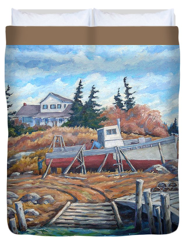 Boat Duvet Cover featuring the painting Novia Scotia by Richard T Pranke