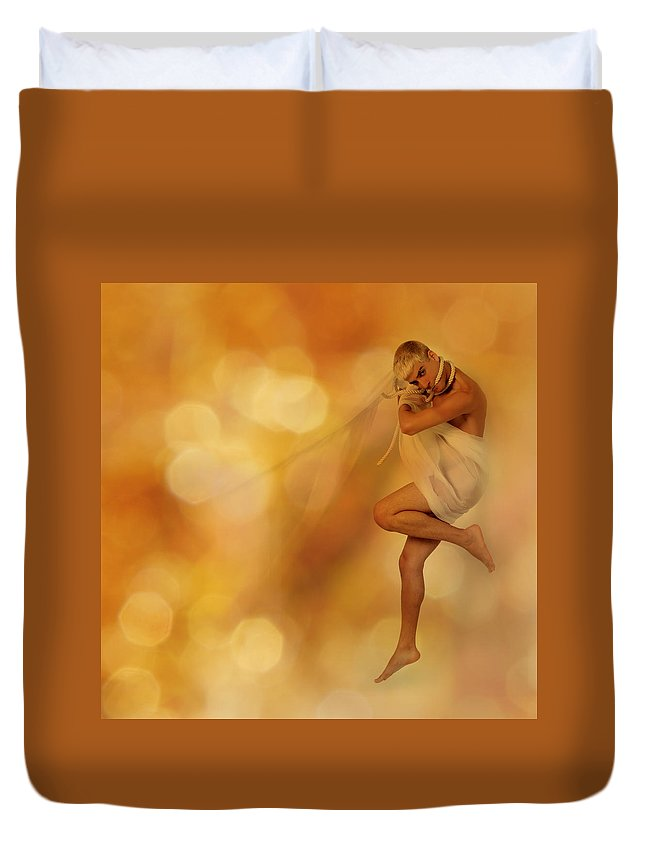 Nude Duvet Cover featuring the pyrography Nowhere II by George Riveron
