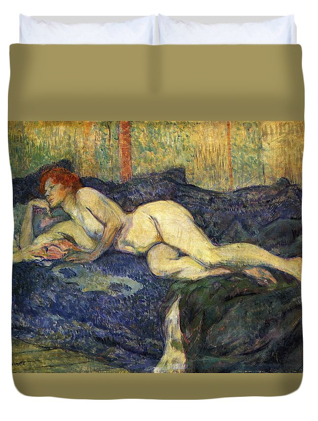 Apartment Duvet Cover featuring the painting Nu Couche Naked Lying by Henri De Toulouse Lautrec