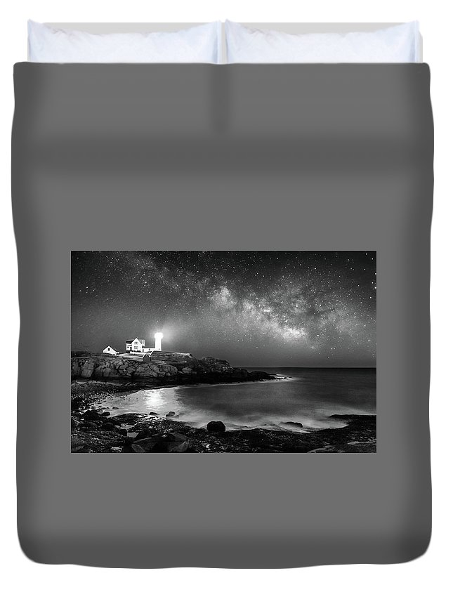 Nubble Duvet Cover featuring the photograph Nubble At Night by Jatinkumar Thakkar