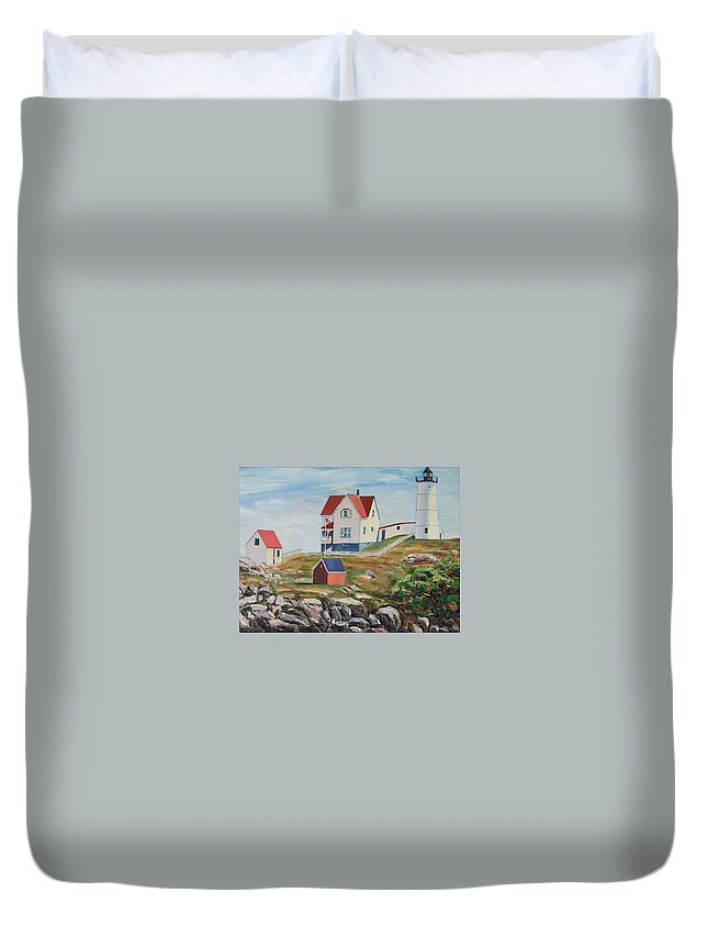Nubble Light House Duvet Cover featuring the painting Nubble Light House Maine by Richard Nowak