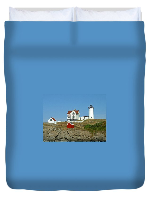 Nubble Duvet Cover featuring the photograph Nubble Light by Margie Wildblood