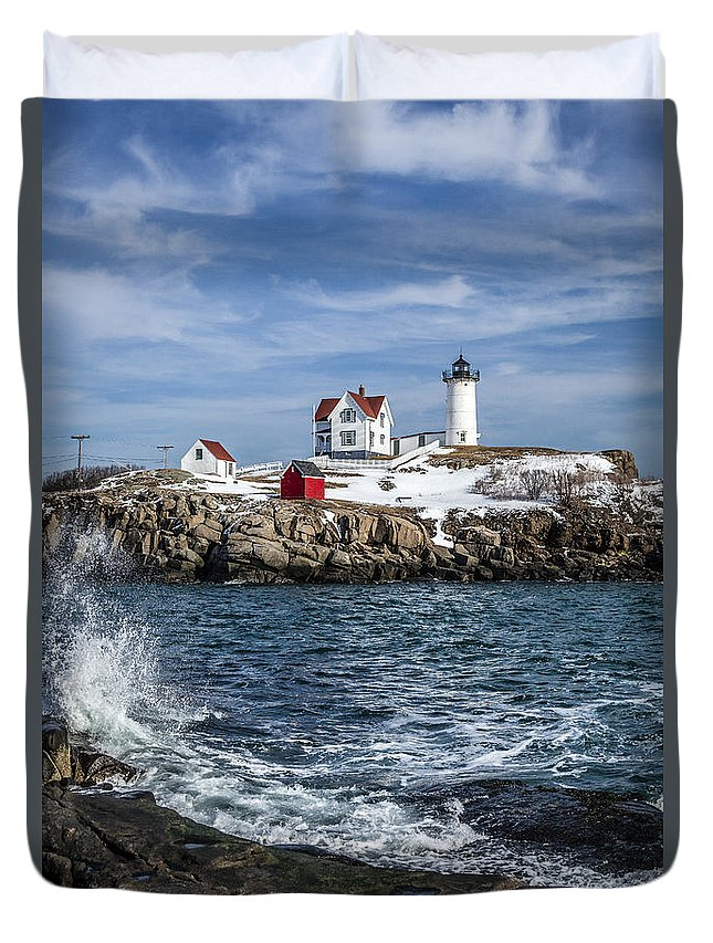 Lighthouse Duvet Cover featuring the photograph Nubble Lighthouse Winter by Gary Shepard