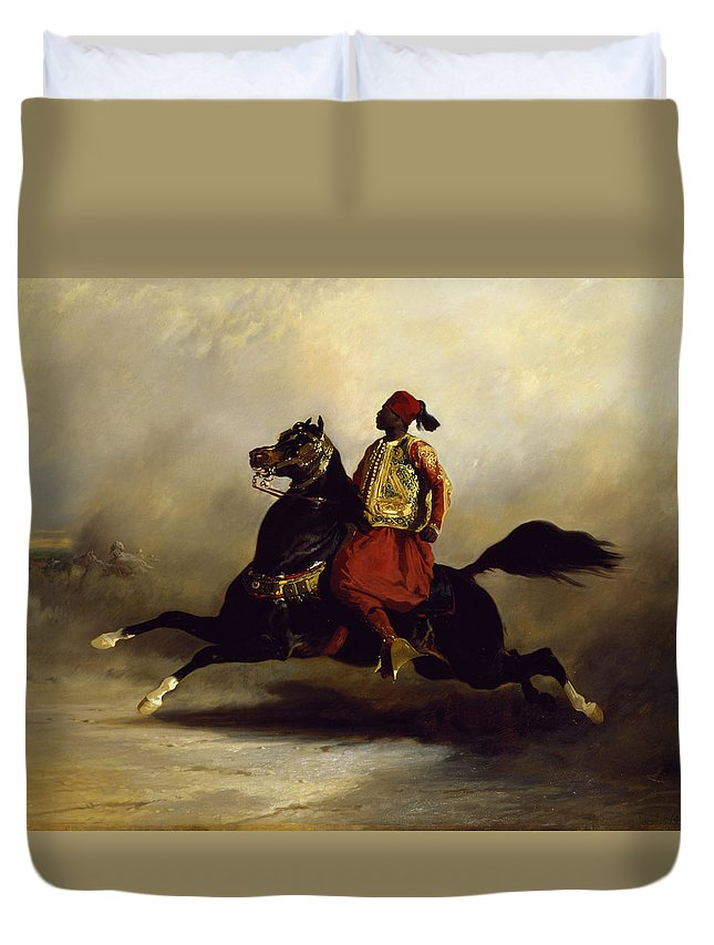 Nubian Duvet Cover featuring the painting Nubian Horseman At The Gallop by Alfred Dedreux or de Dreux