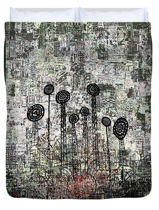 Urban Garden Duvet Cover featuring the digital art Nuclear Garden by Andy Mercer
