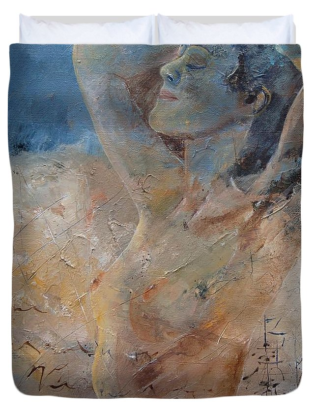 Nude Duvet Cover featuring the painting Nude 0508 by Pol Ledent