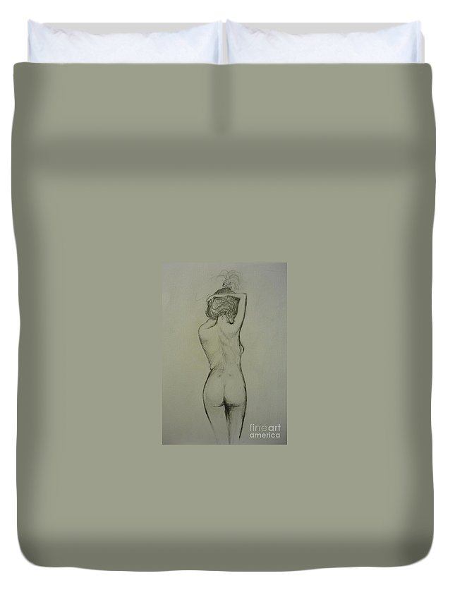 Female Duvet Cover featuring the painting Nude 1 by Lizzy Forrester