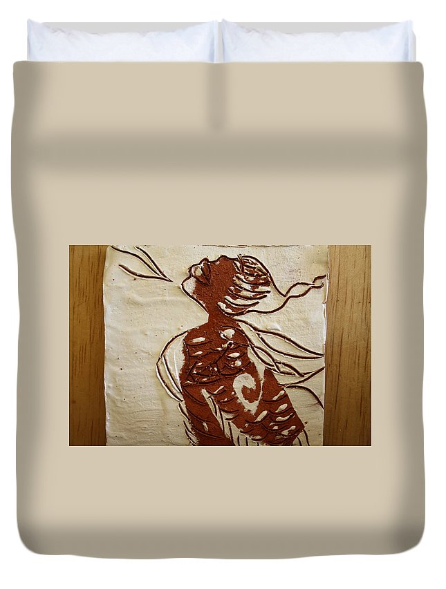 Jesus Duvet Cover featuring the ceramic art Nude 10 - Tile by Gloria Ssali