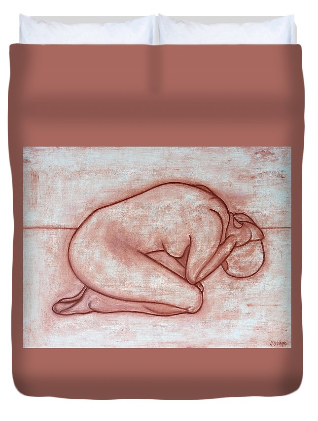 Nude Duvet Cover featuring the painting Nude 19 by Patrick J Murphy