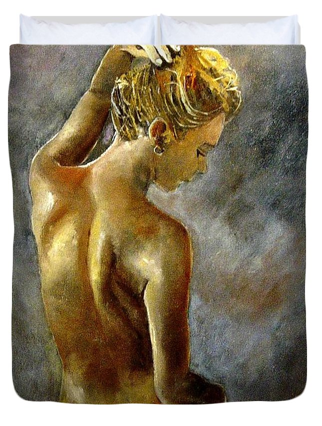 Girl Nude Duvet Cover featuring the painting Nude 27 by Pol Ledent