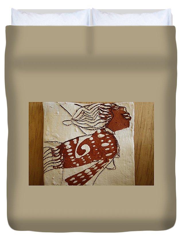 Jesus Duvet Cover featuring the ceramic art Nude 3 - Tile by Gloria Ssali