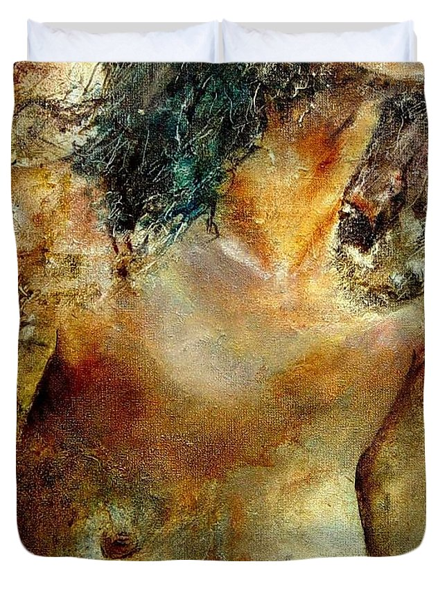 Girl Nude Duvet Cover featuring the painting Nude 34 by Pol Ledent