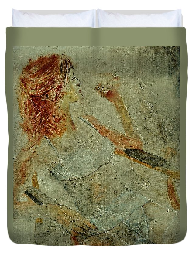 Nude Duvet Cover featuring the painting Nude 451170 by Pol Ledent