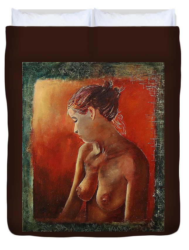 Nude Duvet Cover featuring the painting Nude 458755 by Pol Ledent