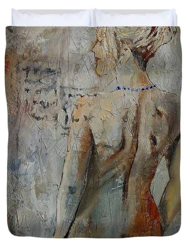Girl Duvet Cover featuring the painting Nude 459020 by Pol Ledent
