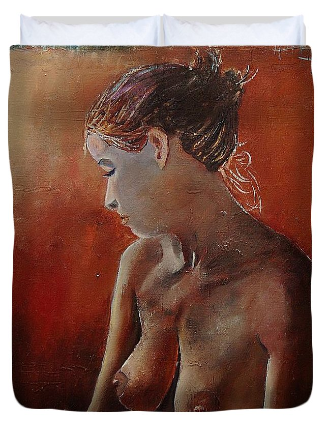 Girl Duvet Cover featuring the painting Nude 569022455 by Pol Ledent