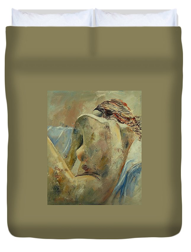 Duvet Cover featuring the painting Nude 56905092 by Pol Ledent