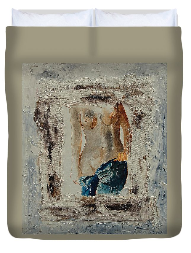 Girl Duvet Cover featuring the painting Nude 674521 by Pol Ledent