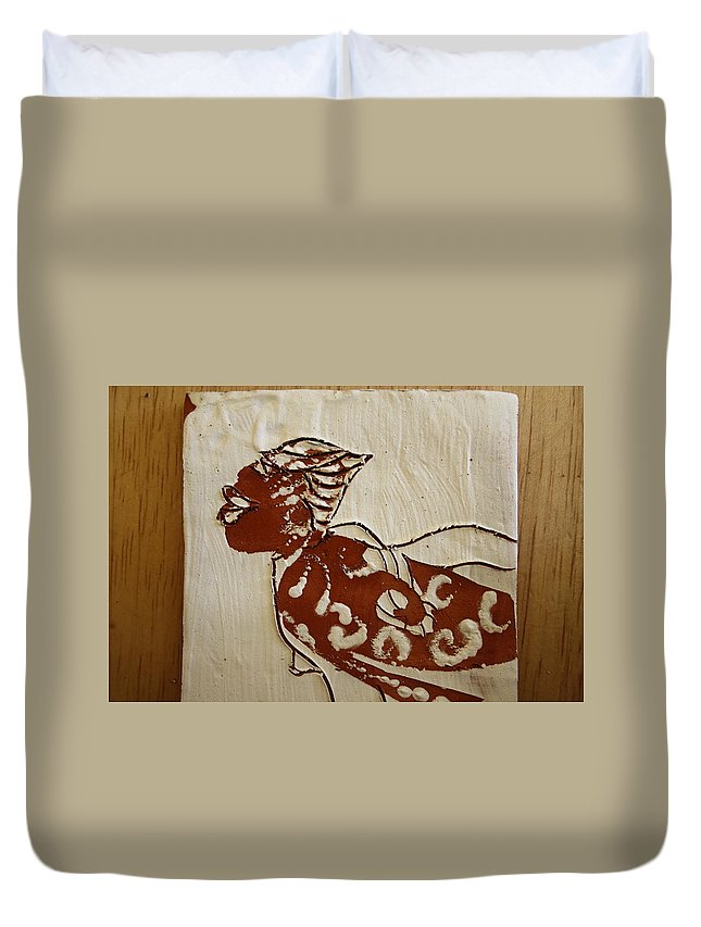 Jesus Duvet Cover featuring the ceramic art Nude 7 - Tile by Gloria Ssali