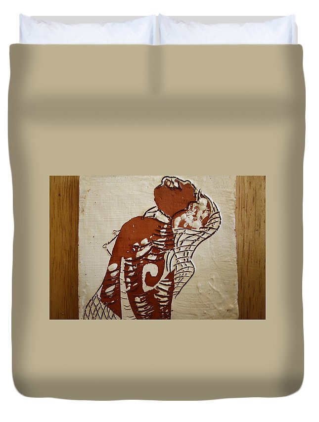 Jesus Duvet Cover featuring the ceramic art Nude 9 - Tile by Gloria Ssali