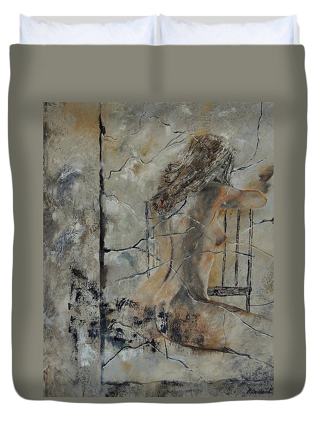 Nude Duvet Cover featuring the painting Nude 910111 by Pol Ledent