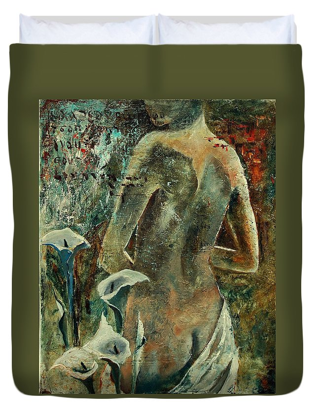 Girl Duvet Cover featuring the painting Nude And Arums by Pol Ledent