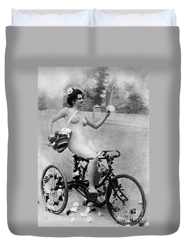 1900 Duvet Cover featuring the photograph Nude And Bicycle, C1900 by Granger