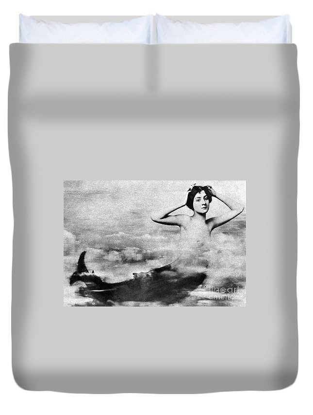 1890s Duvet Cover featuring the photograph Nude As Mermaid, 1890s by Granger