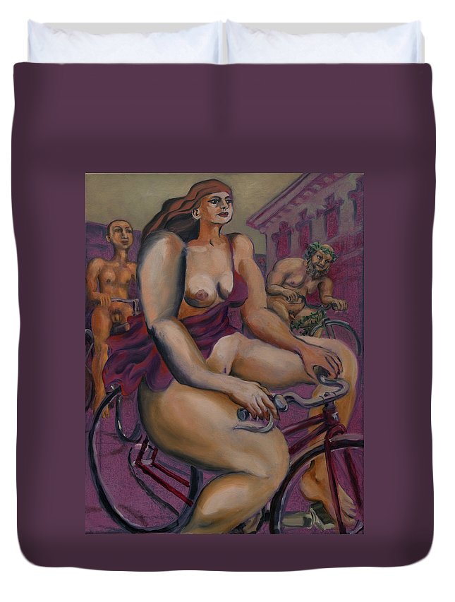 Nudes Duvet Cover featuring the painting Nude Cyclists With Carracchi Bacchus by Peregrine Roskilly