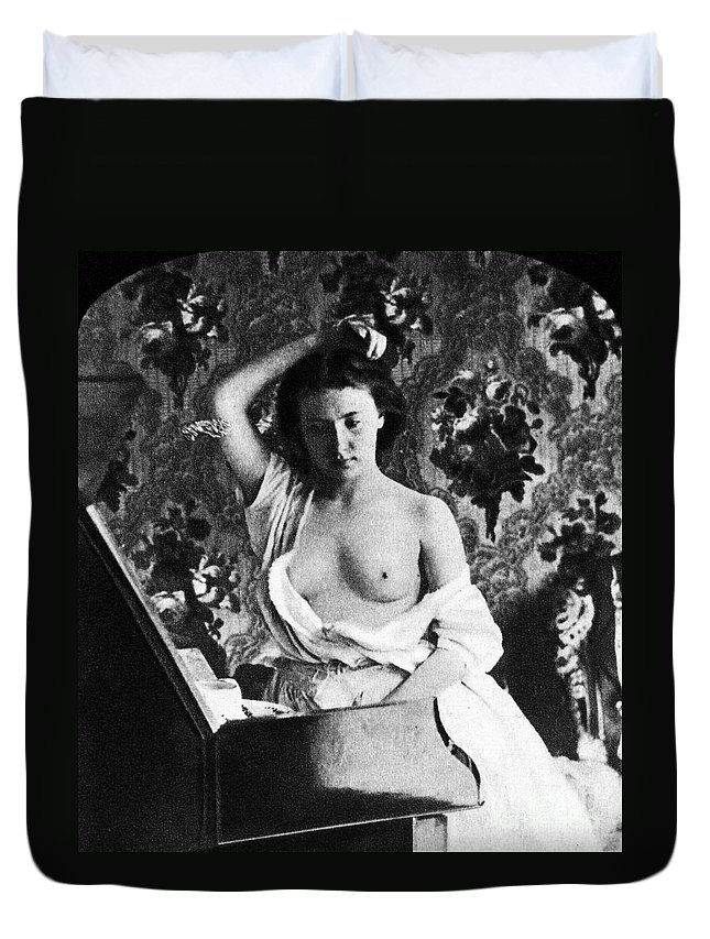 1861 Duvet Cover featuring the photograph Nude Fixing Hair, C1861 by Granger
