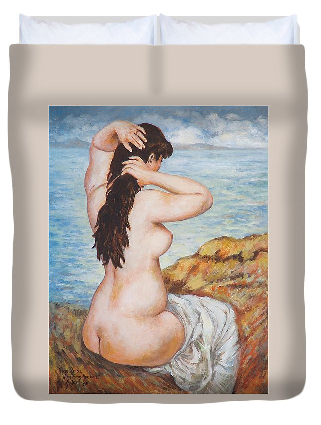 Portrait Duvet Cover featuring the painting Nude Fixing Her Hair My Reproduction Of Renoirs Work by Ekaterina Mortensen