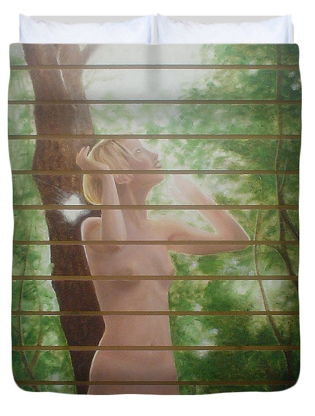 Realistic Duvet Cover featuring the painting Nude Forest by Angel Ortiz