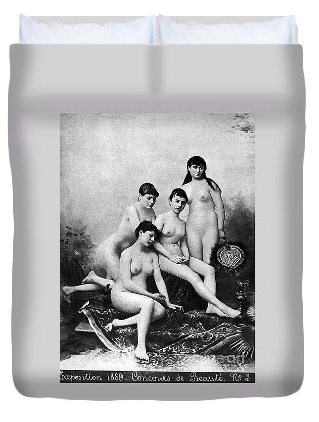 1889 Duvet Cover featuring the photograph Nude Group, 1889 by Granger