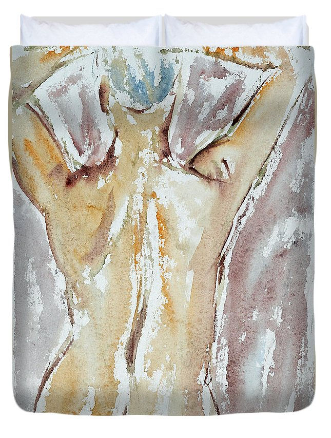 Woman Duvet Cover featuring the painting Nude by Michal Boubin