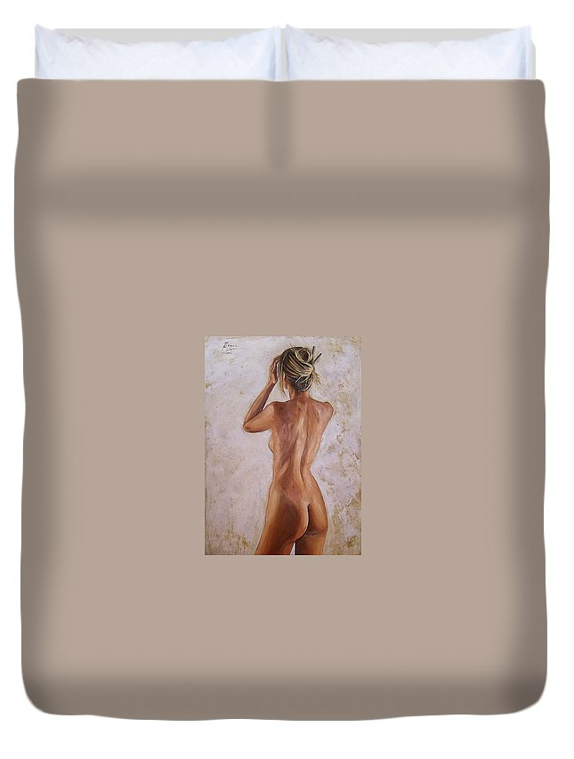 Nude Duvet Cover featuring the painting Nude by Natalia Tejera