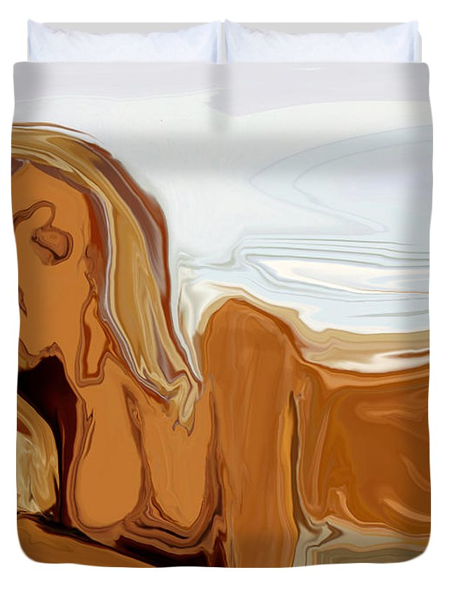 Abstract Duvet Cover featuring the digital art Nude On The Beach by Rabi Khan