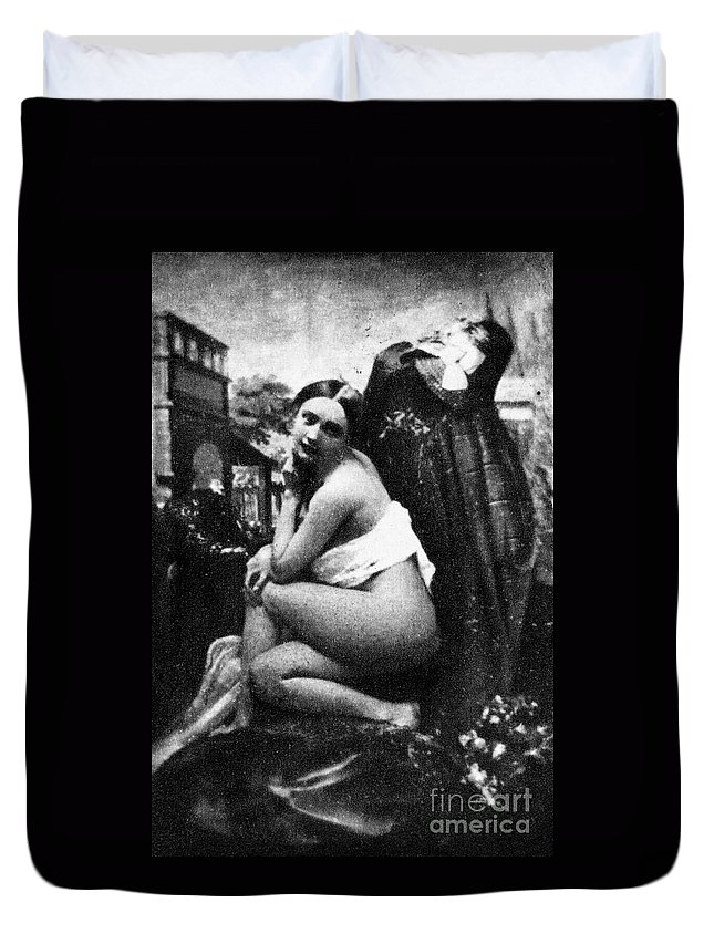 1843 Duvet Cover featuring the photograph Nude Posing, C1843 by Granger