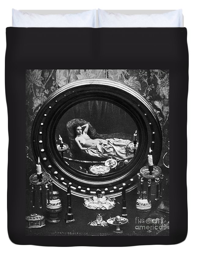 1860 Duvet Cover featuring the photograph Nude Reflected In Mirror by Granger