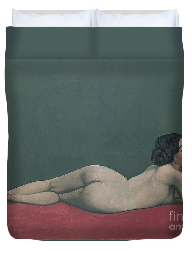 Nude Duvet Cover featuring the painting Nude Stretched Out On A Piece Of Cloth by Felix Edouard Vallotton