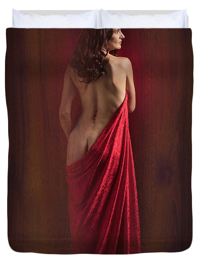 Nude Duvet Cover featuring the photograph Nude Young Woman 1718.01 by Kendree Miller