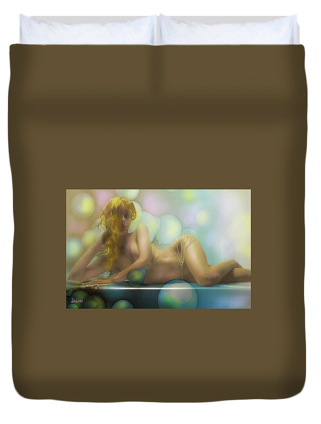 People Duvet Cover featuring the pastel Nudity 2 by Ombretta Lanari