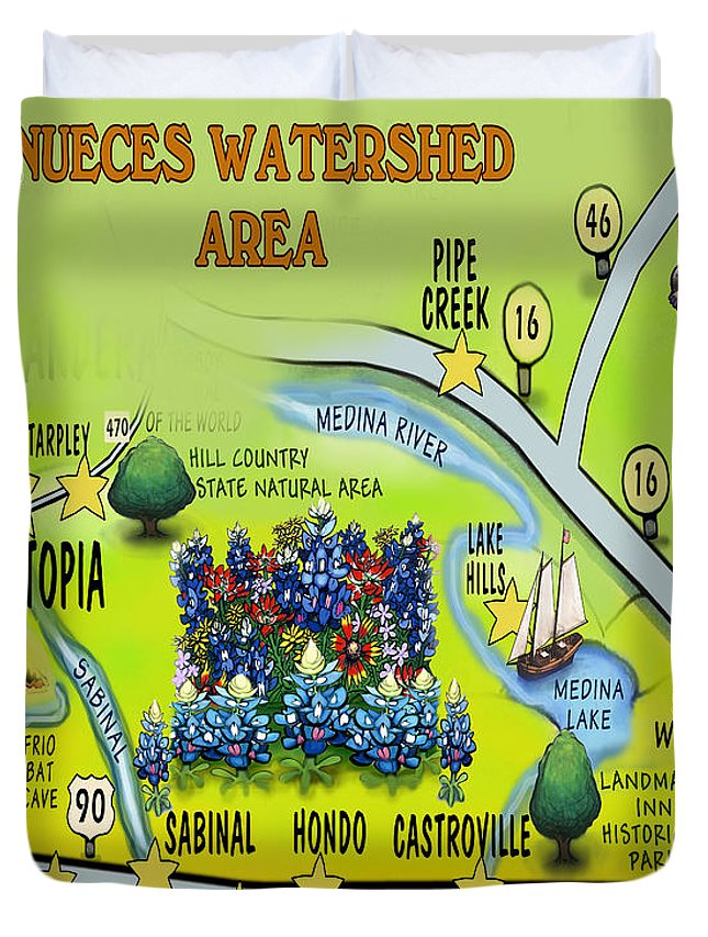 Nueces Watershed Area Duvet Cover featuring the digital art Nueces Watershed Area by Kevin Middleton
