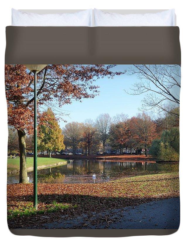 Nuenen Village Autumn Leaves Landscape Lake Colours Duvet Cover featuring the photograph Nuenen by Rosamund Smears