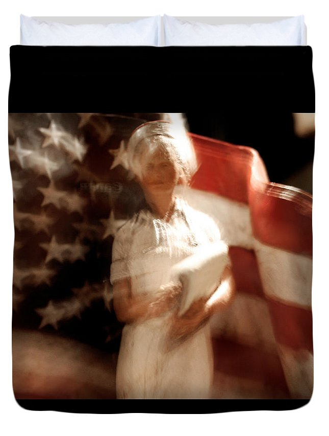 Motion Duvet Cover featuring the photograph Nursing America by Ric Bascobert