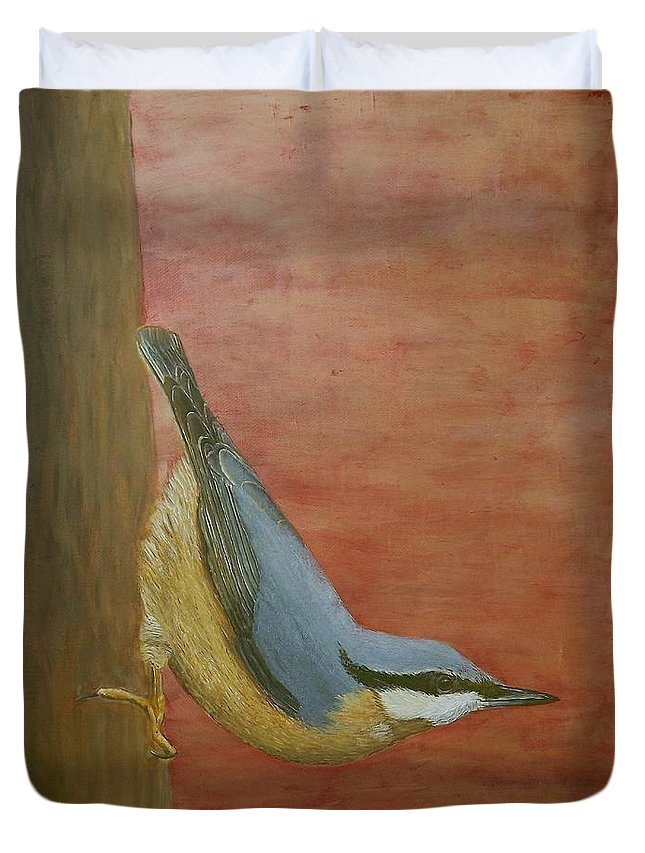 Bird Duvet Cover featuring the painting Nuthatch by Andy PYRAH