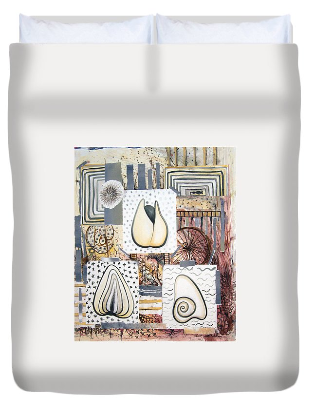 Abstract Duvet Cover featuring the painting Nuts by Valerie Meotti