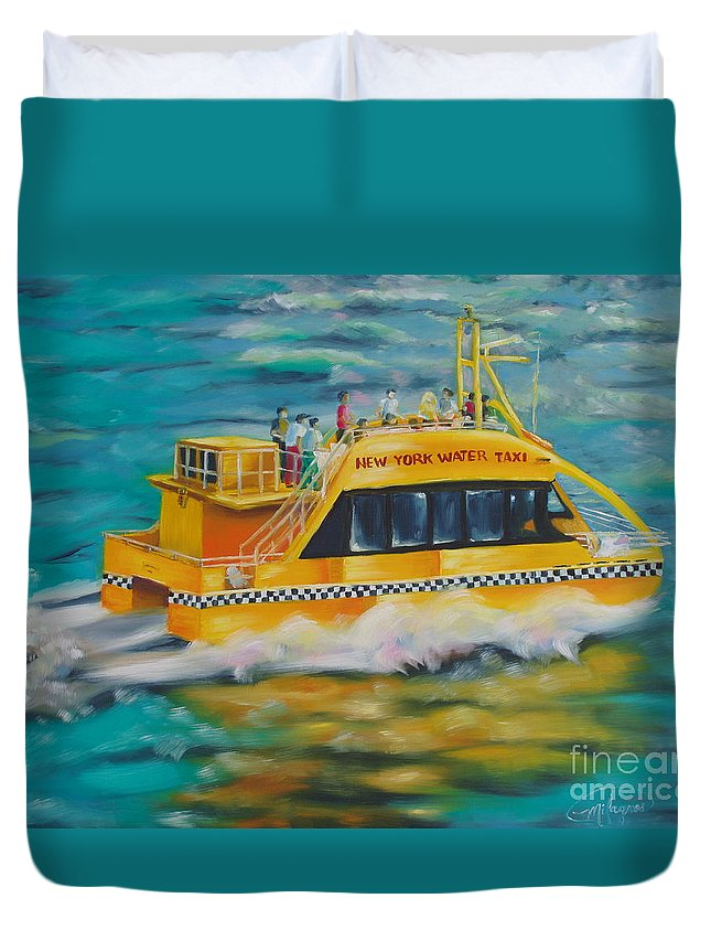 Waterscapes Duvet Cover featuring the painting Ny Water Taxi by Milagros Palmieri